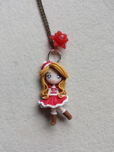 Necklace girl in christmas fimo, polymer clay