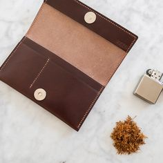 Vicus - handmade leather tobacco pouch. Made out using vegetable tanned leather, hand-stitched using Lin thread.