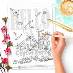 I think this is the very first time I posted my 'Hello Month' spread right on the 1st day of the new month. Exciting times! xD  What you can see here is the free printable version of my Hello September spread. Out of some strange reason, I feel very nostalgic seeing bikes like that and so I couldn't resist drawing one. I always imagine a beautifully dressed woman in a long flowy skirt driving on it through her hometown. Dark red lips, curly pinned up hair and great confidence. And since…