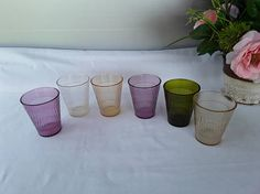 Vintage Plastic Tumblers  6 Mixed Colored Oatmeal Glasses
