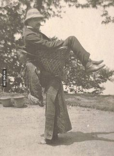 A Sikkimese woman carrying a British man on her back, West Bengal, India, c. 1900