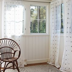 Stairwell - Bella Embroidered Window Panel – Bark   Serena & Lily