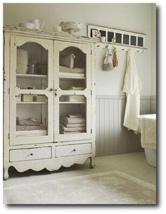 Cottage Bathroom With Large White Storage Armoire Bathrooms Decorating Ideas For The Home House