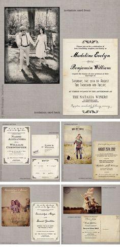 Nostalgic Imprints, Vintage-Hochzeitseinladungen, vintage wedding invitations