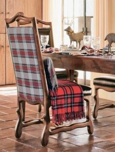 Pendleton wool bentwood side chair.