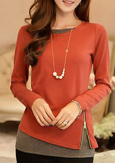 Zip Design Faux Two Piece T Shirt Watermelon Red Long Sleeve Blouse, cute and sweet blouse, cheap price and high quality, don't wait.