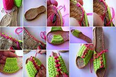 Como hacer Zapatillas de Crochet con suela de esparto - how to make add soles to your crochet shoes ༺✿Teresa Restegui http://www.pinterest.com/teretegui/✿༻