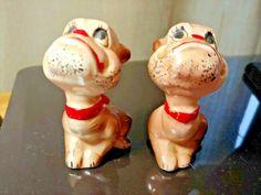 Vintage ARTMARK JAPAN Puppy Dogs Salt & Pepper Shakers Hand painted Salt N Pepper, Salt Pepper Shakers, Dogs And Puppies, Stuffed Peppers, Hand Painted, Japan, Vintage, Food, Stuffed Pepper