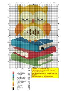 Chouette livres Cross Stitch Owl, Cross Stitch Bookmarks, Cross Stitch Animals, Cross Stitching, Cross Stitch Patterns, Loom Bands, Blackwork Embroidery, Cross Stitch Embroidery, Loom Patterns