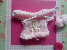 Pink Knitted Cardigan New Arrival Card Card by WendyLizabet