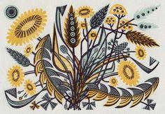 Angie Lewin - Dandelion Track II - wood engraving print