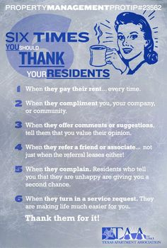 Six Times You Should Thank Your Residents! West Rental Management 11555 Sorrento Valley Rd Ste 204 San Diego, CA, 92121 westrentalmanagem. Income Property, Rental Property, Investment Property, Management Company, Management Tips, Property Management, Business Management, Resident Retention, Leasing Office