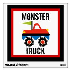 Cool Monster Truck Nursery Kids Wall Decal.  Removable wall decal.  Won't damage walls.