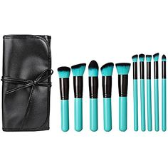 Best Makeup Brush Set | Matto Classic 10 Pcs LakeBlue Makeup Brush Set with Black Pouch Premium Synthetic Hair Kabuki Brush Kit for Face Eye Foundation Cosmetic Tool -- More info could be found at the image url. Note:It is Affiliate Link to Amazon. #instagood