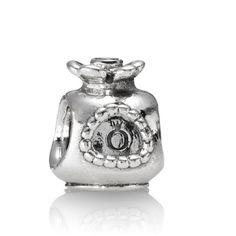 PANDORA Perfume Bottle Charm Retired Sterling Silver Perfume Bottle Bead with Orange Zirconia on the top Pandora Jewelry
