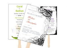 Pretty program fans for the wedding ceremony. Brilliant ideas on how to build an aesthetic and easy to read wedding program fan. Plus a free template! Rustic Wedding Programs, Wedding Program Fans, Wedding Ceremony, Free Printable Wedding Invitations, Wedding Invitations Online, 25th Wedding Anniversary, Anniversary Ideas, Wedding Boxes, Unique Weddings