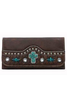 Blazin Roxx® Women's Brown Gator Print with Turquoise Cross & Rhinestones Flap Wallet