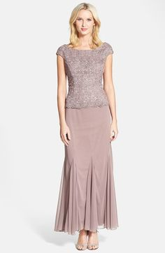 Patra Chiffon & Metallic Lace Godet Gown available at #Nordstrom mocha