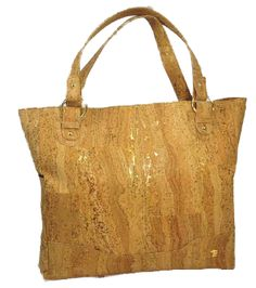 Barcelona Cork FabricTote Bag - Metallic gold provides just the right amount of bling! Vegan, eco-friendly, sustainable.