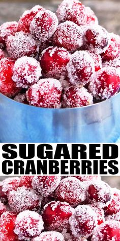 Quick and easy sugared cranberries recipe (candied cranberries) with simple ingredients. No popping or cracking! Use it to decorate cakes, cocktails. Christmas Desserts Easy, Christmas Snacks, Easy Desserts, Christmas Parties, Delicious Desserts, Dessert Recipes, Christmas Cocktails, Dinner Recipes, Health Desserts