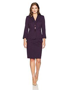 Le Suit Women/'s Petite Textured Three-Button Skirt Suit 4P, Vanilla Ice