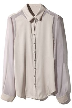 Semisheer Dual-tone Cream Shirt. Description  Cream shirt, featuring unique collar, buttoned cuffs, dual-tone and full length sleeve styling, single-breasted. Fabric Dacron. Washing 40 degree machine wash, low iron. #Romwe