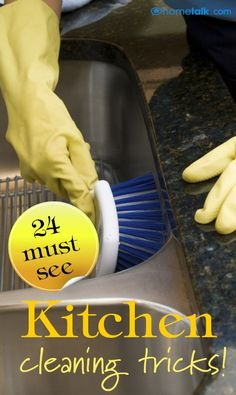 24 must-see kitchen cleaning tips! Perfect for me considering I'm a neat freak!