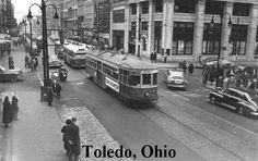 Toledo Ohio   WAY BACK IN THE DAY TROLLY CARS. RAN ON A RAIL AND TRACKS IN THE ROAD