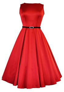 LADY VINTAGE AUDREY HEPBURN DRESS Glamorous Red Swing ROCKABILLY* SIZE 8-28