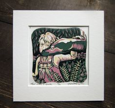 Girl With a Snake Mini Woodcut Relief Print Matted by MissyHeagle