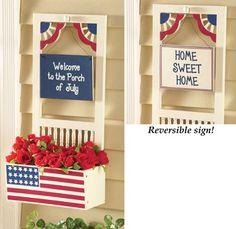 patriotic boxes | Welcome July Patriotic Outdoor Garden Box Plant Holder