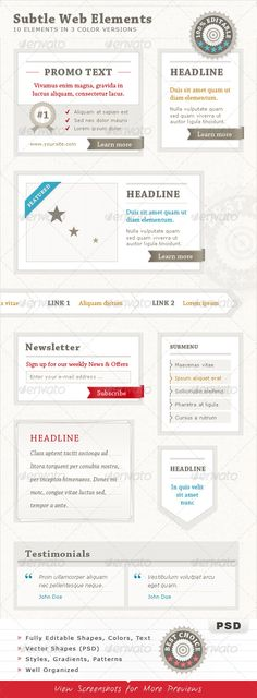 Ideas for simple but elegant typography on these various web elements.