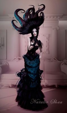 Solitude by Natalie Shau #hat #octopus #fashion #costume #gown #dress #art #woman #goth #gothic #steampunk
