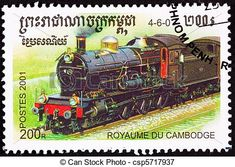 Banco de ilustração - cancelado, cambojano, trem, taxa postal, selo, antigas…