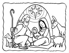 Jesus In Manger Coloring Page