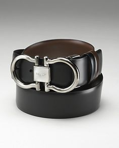 "Salvatore Ferragamo Men's ""Gunmetal Double Gancini"" Reversible Belt 