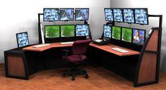 Super Home Office Multi-Monitor Desk Setting!