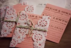 invite with doily - other good ideas from this blogpost