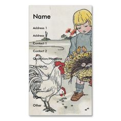 Adorable Vintage Girl with Chickens Business Card Template. I love this design! It is available for customization or ready to buy as is. All you need is to add your business info to this template then place the order. It will ship within 24 hours. Just click the image to make your own!