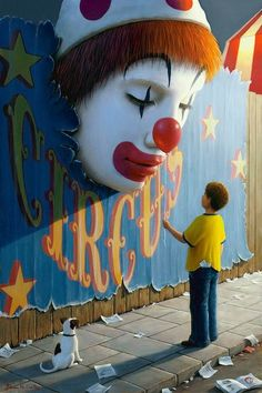 because clowns should be horrifyingly huge and sticking out of a wall.