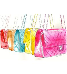 Colorful Chanel Flap Handbags  Watercolor Fashion illustration by MilkFoam, $50.00