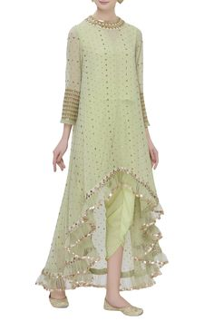 Buy High Low Kurta Dhoti Pant Set by Vvani by Vani Vats at A.- Buy High Low Kurta Dhoti Pant Set by Vvani by Vani Vats at Aza Fashions - Indian Gowns Dresses, Indian Fashion Dresses, Dress Indian Style, Indian Designer Outfits, Pakistani Dresses, Indian Outfits, Pakistani Kurta, Designer Punjabi Suits, Anarkali
