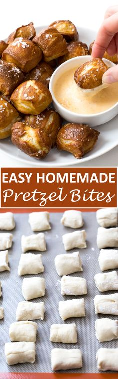Homemade Pretzel Bites with a creamy cheddar cheese dipping sauce! Popable and super addicting these homemade pretzel bites will go fast! | chefsavvy.com #recipe #homemade #pretzel #bites #appetizer #snack