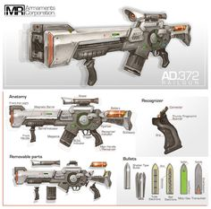 Commission: Railgun Rifle by aiyeahhs on DeviantArt Sci Fi Weapons, Weapon Concept Art, Weapons Guns, Fantasy Weapons, Military Weapons, Sci Fi Fantasy, Rpg Cyberpunk, Laser Tag, Iron Sights