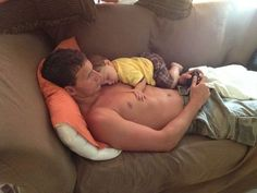 Ryan Lochte with his nephew. Officially the hottest Olympian ever