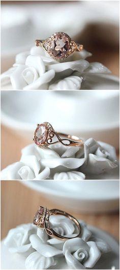 Oval Cut Rose Gold Morganite Engagement Ring / http://www.deerpearlflowers.com/inexpensive-engagement-rings-under-1000/2/