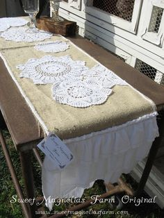 Table runner - burlap, doiles, lace, and ruffles