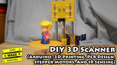 DIY 3D Scanner (Arduino, 3D Printing, PCB Design, Stepper Motors, IR Sensing) - Super Make Something - YouTube