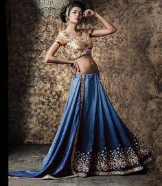 $68.26 Blue Crepe Jacquard Party Wear Saree 57217