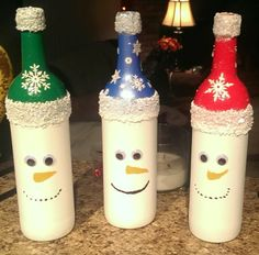 Snowmen - Painted Bottles - no instructions